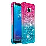 Cfrau Glitter Case with Black Stylus,Luxury Creative Quicksand Liquid Flowing Diamond Soft TPU Shockproof Cover for Samsung Galaxy S8,Pink Blue