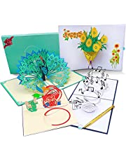 3D Pop Up Cards with Elegant Envelope, Diamond Pen, Message Insert for All Special Occasions - 4 Big Pack Handmade Greeting Cards - Perfect Celebration, Anniversary, Birthday Idea for Family & Friends