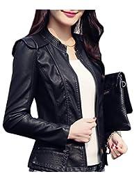 BU2H Womens Slim Fit PU Faux Leather Motorcycle Biker Jacket Coat
