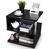 Giantex 3-Tier End Side Table Sofa Couch Side Table Storage Rack of Low Shelf for Bedroom Decor Living Room Furniture Small Side Coffee Table Night Stand Bed-Side Accent Table, Black (Black)