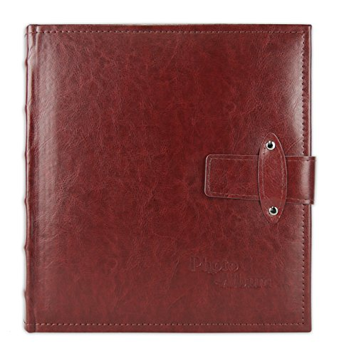 Golden State Art, Photo Album Maroon Faux Leather Strap Closure Cover, Holds 200 5x7 Pictures