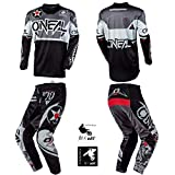 O'Neal Element Warhawk Black/Gray Adult motocross MX off-road dirt bike Jersey Pants combo riding gear set (Pants W32 / Jersey Large)