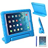 HDE iPad Air 1 Shock Proof Case Bundle for Kids Foam Bumper Cover Child Handle Stand + Stylus Screen Protector for Apple iPad Air 1 (Blue)