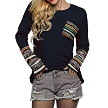 POGTMM Women's Long Sleeve O-Neck Patchwork Casual Loose T-shirts Blouse Tops