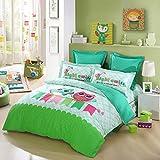 LOVO Kids Best Friends Owl Cotton 300TC 4-Piece Bedding Set Duvet Cover Fitted Sheet 2x Shams Twin