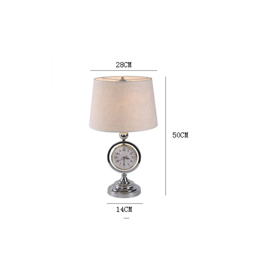 Mit Uhren und Uhren Modern European Style Lamp Schlafzimmer Schlafzimmer Schlafzimmer Bedside Studie Lampen (Farbe   Linen Weiß) B06ZZB1V9K | Modern  780f25