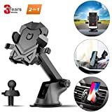 Phone Holder for Car,Universal Car Phone Mount with Adjustable Dashboard Windshield Air Vent iPhone Car Mount Compatible for iPhone X/8/7/7 Plus and More (Black) by SPCEUTOH