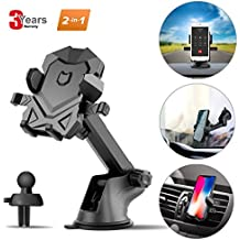 Phone Holder for Car,Universal Car Phone Mount with Adjustable Dashboard Windshield Air Vent iPhone Car Mount for iPhone X/8/7/7 Plus and More (BlackGrey) by SPCEUTOH