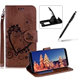 PU Leather Case For Samsung Galaxy S9,Strap Magnetic Wallet Folio Cover for Samsung Galaxy S9,Herzzer Elegant Slim Brown [Love Hearts Flower Embossed] Stand Phone Case