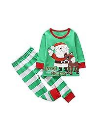 Kids Clothes, CieKen Baby Boys Girls Deer Tops Plaid Cotton Pants 2Pcs Outfits