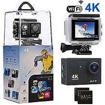 Cámara de acción, amuoc 4K WIFI Ultra HD Impermeable Deporte Cámara con 12MP 170Grados Lente Gran Angular y 2Pcs Batería recargable, incluyendo funda impermeable y Full accesorios kits
