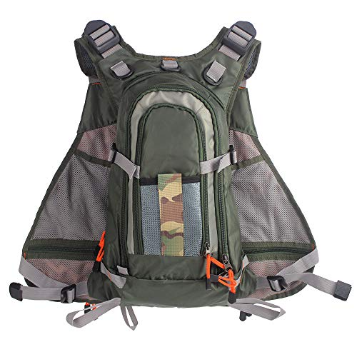 Strap Fly Fishing Vest Backpack Adjustable for Men and Women for Bass Fishing and Outdoor Activities
