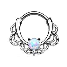 Swanjo Tribal Lacey Opal Septum Clicker Rings Titanium Shaft Nose Hoop 16G Hanger Earring Helix Rings Body Piercing Jewelry 1pc