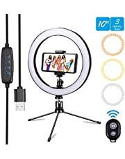 "Ring Light 10"" Selfie Ring Light with Remote Control 3 Light Modes & 10 Brightness Level and 120 Bulbs Dimmable Desktop Ringlight for YouTube Video/Live Stream/Makeup/Photography for iPhone Android"