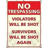 No Trespassing Mini Metal Dangler Sign 90mm x 65mm by Original Metal Sign Co