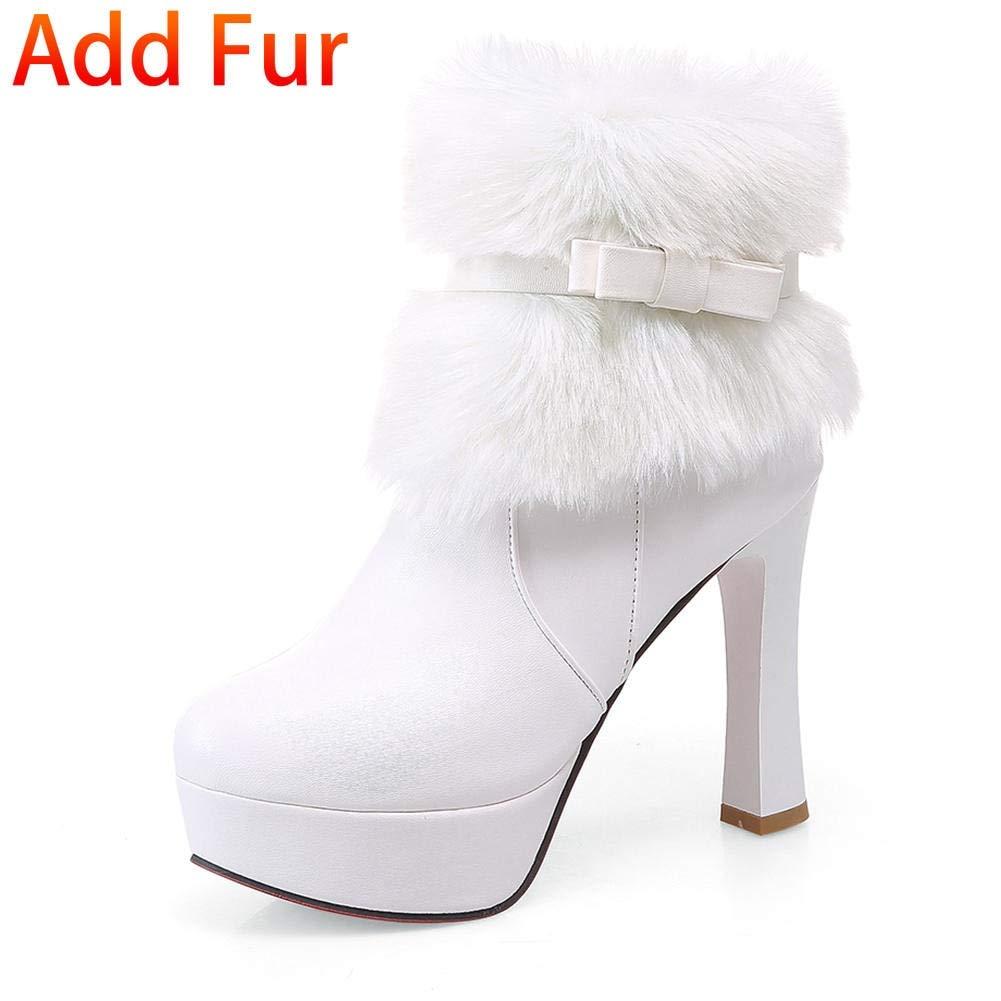 blanc blanc blanc add plush HOESCZS 2018 Grandes Tailles 32-43 Meilleure qualité Ajouter de la Fourrure Femmes Chaussures Femmes Bottines Mode Talons Hauts Bottes d'hiver Femme Chaussures 7be