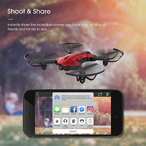 Drone for Kids, Drocon Spacekey FPV Wi-Fi Drone with Camera 1080P FHD, Real-time Video Feed, Great Drone for Beginners, Quadcopter Drone with Altitude Hold, One-Key Take-Off, Landing Foldable Arms (Red)