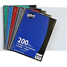 Hilroy Coil 1-subject Wide Ruled Notebook, 10.5 X 8 Inches, 3 Hole Punched, 200 Pages, 1 Notebook, Color May Vary (13224)