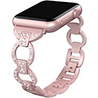Valband Replacement for Apple Watch Band 38mm 40mm 42mm 44mm,Women Metal Bling Wristband Replacement Strap Bracelet for Apple Watch Series 4 3 2 1 Nike+ Sport Edition
