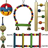 5pcs Toys Bird Chew Ball with Bell Wood Ladder Swing Parrot Perch Stand for Budgie Parakeet Cockatiel Conure Lovebird Finch Canary Cockatoo African Grey Eclectus Amazon Cage Accessories