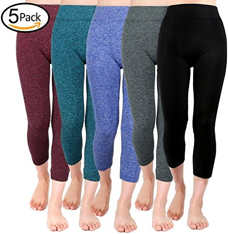 Moon Wood Extra Soft Capri Leggings for Women with High Waist, Seamless Workout Capris Yoga Pants-Regular and Plus Size