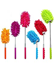 KisSealed 6 Pack Microfiber Bendable Extendable Dusters Brush Washable Dusting Brush with Telescoping Pole for Home Office Car, 3 Bendable and 3 Straight