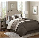 Comfort Spaces Windsor Comforter Set 5 Piece Khaki Brown Ivory Pintuck Pattern King Size Includes 1 Comforter 2 Shams 1 Decorative Pillow