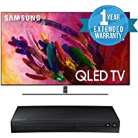 "Samsung QN55Q7F FLAT 55"" QLED 4K UHD 7 Series Smart TV 2018 BUNDLE WITH Samsung BD-J5700 Curved Blu-ray Player + 1 Year Extended Warranty"