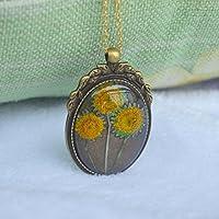 3 Girasol Helianthus Real Flores Transparente Vaso 18K Chapado en oro Largo Collar