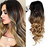 AISI QUEENS Brown Ombre Wigs Long Curly Side Part