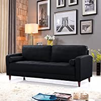 Mid Century Modern Linen Fabric Living Room Sofa (Black)
