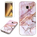 for Samsung Galaxy A5 2017 Marble Case and Screen Protector,Unique Pattern Design Skin Ultra Thin Slim Fit Soft Gel Silicone Case,QFFUN Shockproof Anti-Scratch Protective Back Cover - Pink