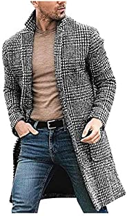 Men's Houndstooth Long Coat Casual Winter Fashion Wool Jacket Classic Slim Out