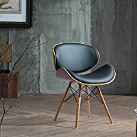 Versatile and Mid-Century Style Furniture Piece ,Madonna Walnut and Black Finished Contemporary Bent Look Mid-century Style Chair