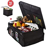 Premium Car Trunk Organizer with Cover – Cargo Storage Solution with Non Slip Bottom Strips. Suitable for Most Cars SUV BMW Auto Van, Black. New Version