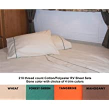 3/4 Full Bunk Sheet Set 48x75 for Campers, RVs, Travel Trailers Cotton/Polyester blend Color: Bone (cream) with Forest Green trim