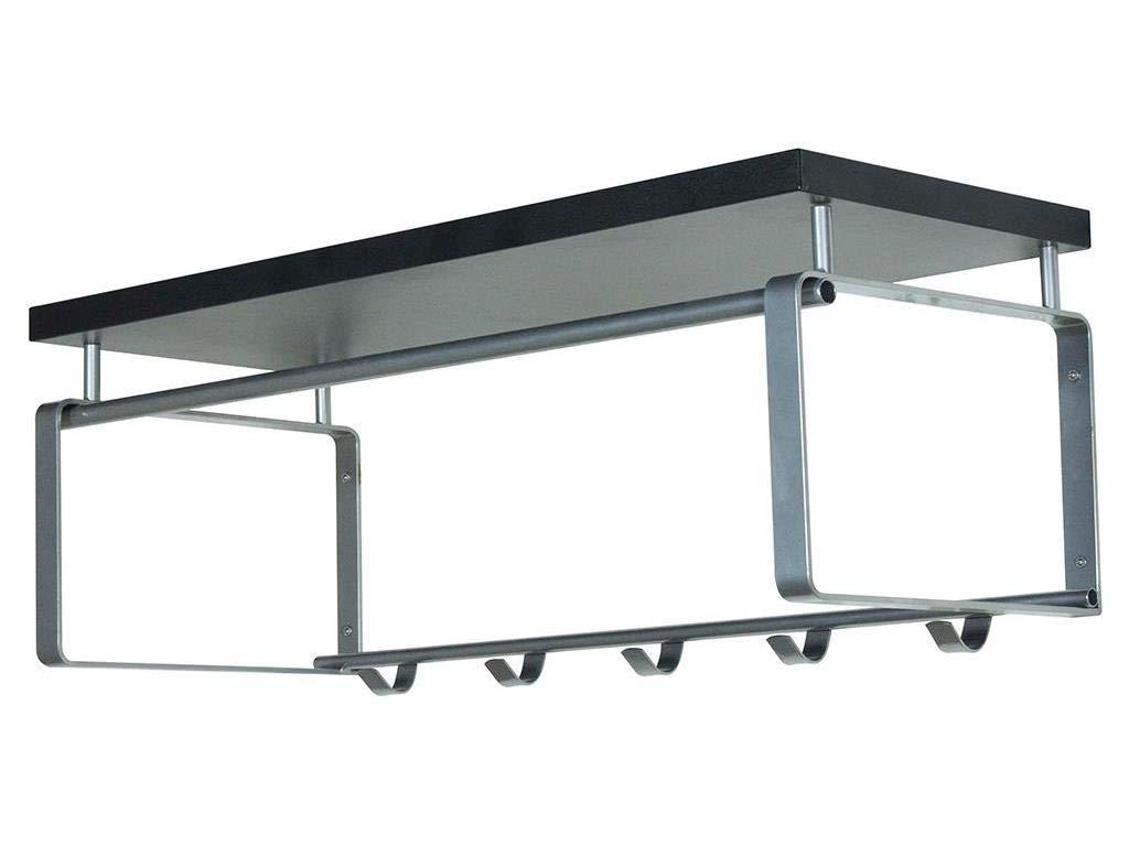 Spinder Design - Rex 3 Wandgarderobe   Garderobe mit Hutablage - 5 Haken - 28 x 70 x 29 cm - Nickel   Schwarz