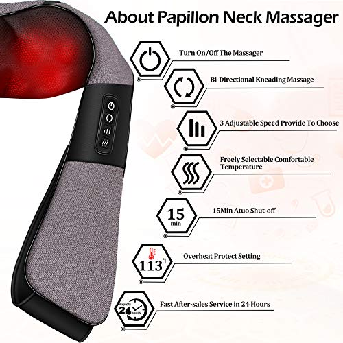 Massagers for Neck and Back Pain Relief,Shiatsu Shoulder Massager with Heat,Electric Cervical Massage Pillow with 8 Deep Tissue Massage Nodes for Waist,Foot,Legs,Body Muscle,Great Gifts for Men/Women