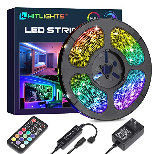 HitLights LED Strip Lights 32.8ft Color Changing Tape Lights SMD 5050 300LEDs Flexible RGB Light Strips with RF Remote, UL Power Supply for Party TV Bedroom Home Decoration