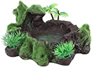 Petyoung Resin Reptile Food and Water Dish, Simulation Plants Fish Tank Lizard Reptile Feeding Bowl Tortoise F