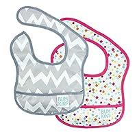 Bumkins Waterproof Starter Bib 2 Pack, Girl (G48-Gray Chevron/Confetti) (4-9 Months)