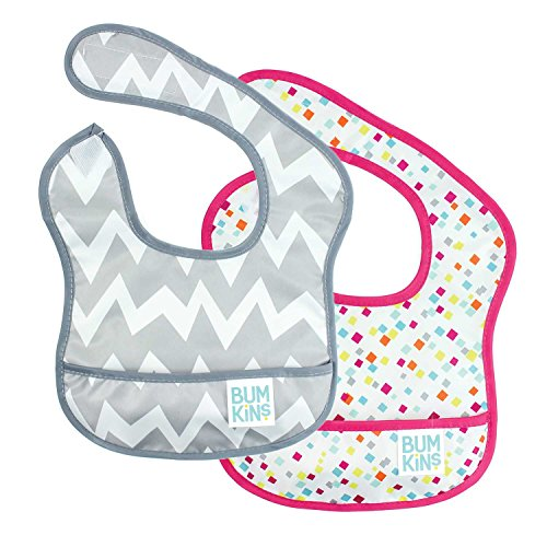bumkins-waterproof-starter-bib-2-pack-girl-g48-gray-chevron-confetti-4-9-months