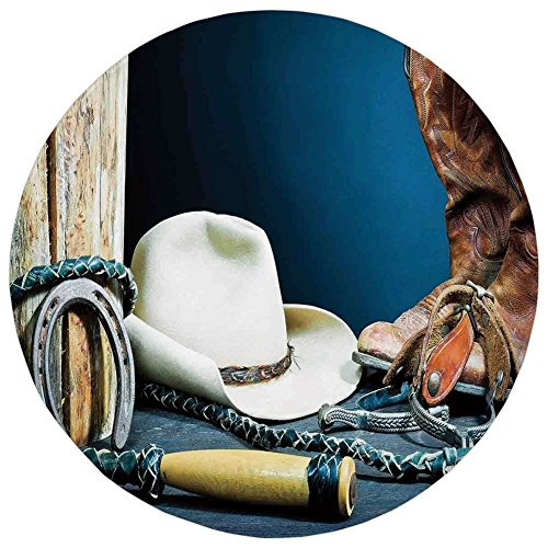Horseshoe Mat - Round Rug Mat Carpet,Western Decor,Equestrian Backdrop with Antique Horseshoe Hat Cowboy Texas Style,Blue Brown and Beige,Flannel Microfiber Non-slip Soft Absorbent,for Kitchen Floor Bathroom