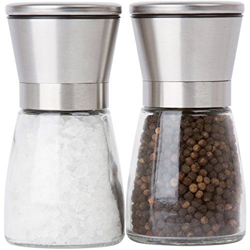 - Salt and Pepper Grinder Set for Professional Chef - Ceramic Spice Shaker - Stainless Steel Salt and Pepper Mill pair with Adjustable Coarseness - Easy to Fill and Maintain Spice Freshness