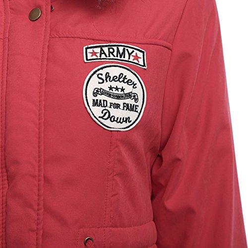 Charmma - Abrigo de invierno para mujer, capucha con forro de piel sintética, cordón en la cintura Rojo De La Sandía