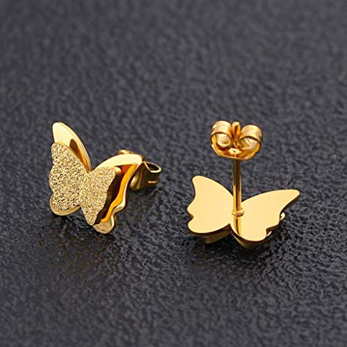 Stylish Double Butterfly Bracelet for Women Simple 925 Silver Adjustable Pulseras Mujer Jewelry Party Gifts(gold earrings)