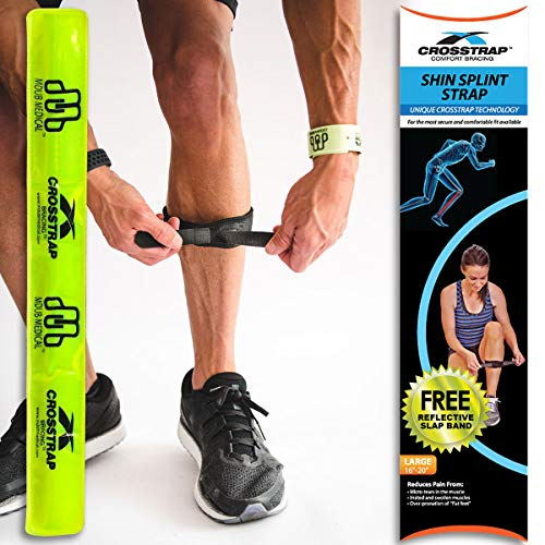 CROSSTRAP Shin Splint by MDUB Medical | 1-Strap (Large) | Adjustable Neoprene Shin Splints Leg Compression Strap Support for Pulled Calf Muscle Pain Torn Calf Strain Injury | ForMen and - Shin Support