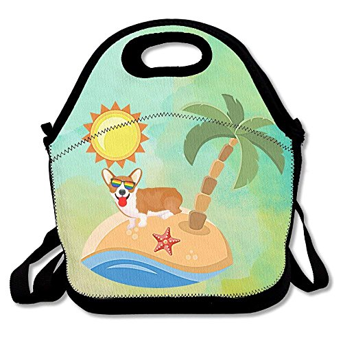 Western Cowboy Boots Lunch Bags Insulated Travel Picnic Lunchbox Tote Handbag With Zipper Carry Handle Shoulder Strap For Women Teens Girls Kids Adults,Corgi Love Holiday Enjoy Sunshine Beach