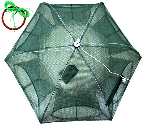 (JSHANMEI Foldable Bait Cast Mesh Trap Net Portable Fishing Landing Net Shrimp Cage for Fish Lobster Prawn Minnow Crayfish Crab with Hand Rope Floating Circle (6 Sides 6 Holes))