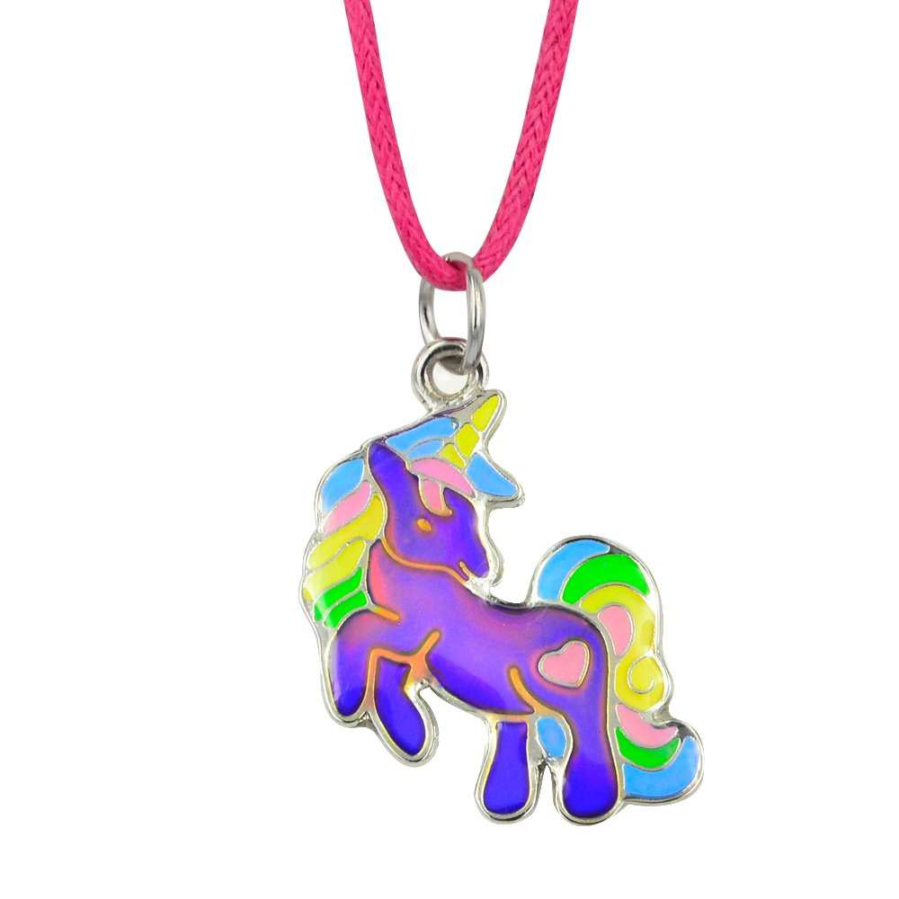 Fun Jewels Fairy Tale Cute Unicorn Pendant Children Color Change Mood Necklace Gift For Girls B0794X1XZC_US